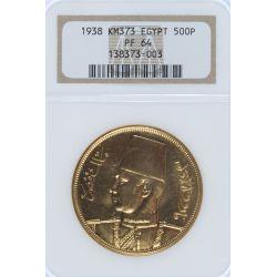 Egypt: 1938 500P Gold, PF64 NGC