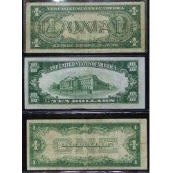 View 2: 1934-A $10, 1935-A $1, 1928-A $1 Star Note VG