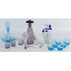 View 2: Italian Blue Glass Stoppered Decanter with Glasses