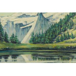 "View 2: Unknown Artist (20th Century) ""Mountains"" Oil on Board"