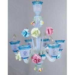 View 2: Murano Style Art Glass Chandelier