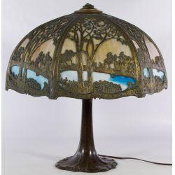 View 2: Art Nouveau Slag Glass Lamp