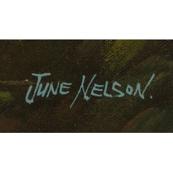 """View 3: June Nelson (20th Century) """"Seascape"""" Oil on Canvas"""