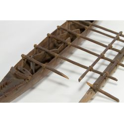 View 2: Primitive Wood Ladle and Outrigger Canoe Model