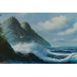 """View 2: June Nelson (20th Century) """"Seascape"""" Oil on Canvas"""