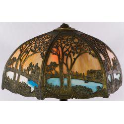 View 3: Art Nouveau Slag Glass Lamp