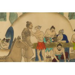 "View 2: Unknown Artist (20th Century) ""Making the Terra Cotta Soldiers"" Silkscreen"