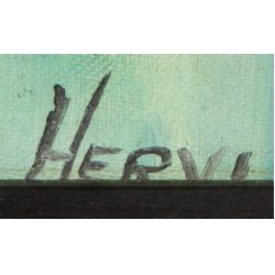"View 3: Hervi (20th Century) ""Devil"" Oil on Board"