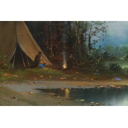 "View 3: (In the manner of) William Chandler (American, 1859-1928) ""Teepee"" Pastel on Board"