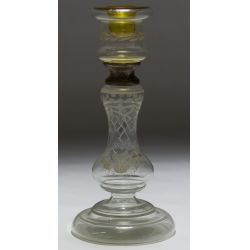 View 3: Hand-blown and Etched Glass Candleholders