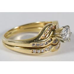 View 2: 14k Gold and Diamond Ring Set