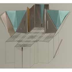 "View 2: Aki Knezevic (20th Century) ""Mausoleum Chapel"" Isometric Architectural Work"