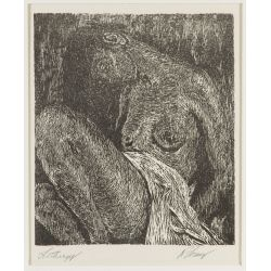 """View 2: Unknown Artist (20th Century) """"Lethargy"""" Woodcut"""