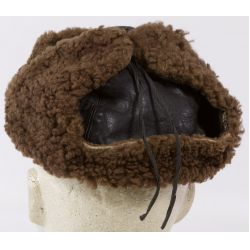 View 2: Shearling Aviator Style Hat with German Nazi Pin