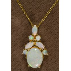 View 2: 14k Gold and Opal Pendant and Necklace