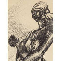 """View 2: Reginald Helm (African American, 20th Century) """"Mother and Child"""" Pen and Ink on Paper"""