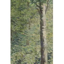 """View 2: Unknown Artist (20th Century) """"Deer in Forest"""" Oil on Canvas"""