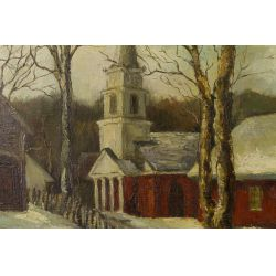 """View 3: Garrison (20th Century) """"Snow Covered Church"""" Oil on Canvas"""
