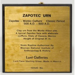 View 2: Lunt-Tane Sterling Silver Zapotec Urn Replica