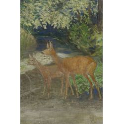 """View 3: Unknown Artist (20th Century) """"Deer in Forest"""" Oil on Canvas"""