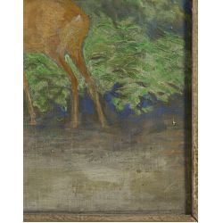 """View 4: Unknown Artist (20th Century) """"Deer in Forest"""" Oil on Canvas"""
