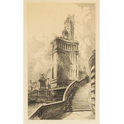 "View 2: Louis Orr (American, 1879-1961) ""Tribune Tower"" Etching"