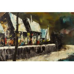 "View 2: Jacallo (20th Century) ""Architectural Landscape"" Oil on Canvas"