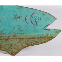 "View 5: Folk Art Tin Fish ""Guide"" Advertising Sign"