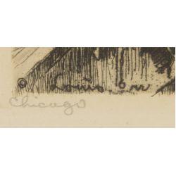 "View 4: Louis Orr (American, 1879-1961) ""Tribune Tower"" Etching"