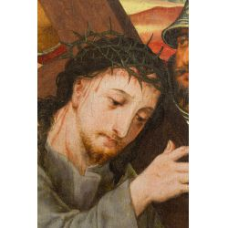 """View 2: European School (17th Century) """"Christ Carrying the Cross"""" Oil on Board"""