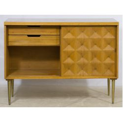 View 2: Mid-Century Modern Teak Cabinet with Quilted Front