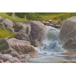"View 3: De Rosa (20th Century) ""Mountains"" Oil on Canvas"