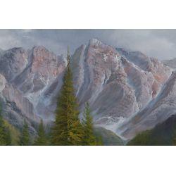 "View 2: De Rosa (20th Century) ""Mountains"" Oil on Canvas"