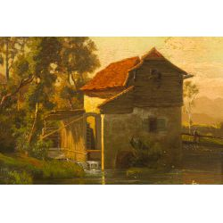 "View 2: B. V. Grale (German, 19th Century) ""Mill"" Oil on Canvas"