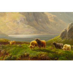 """View 2: William Davies (English, 1826-1910) """"Field of Animals"""" Oil on Canvas"""