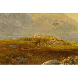 """View 9: William Davies (English, 1826-1910) """"Field of Animals"""" Oil on Canvas"""