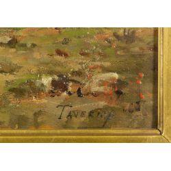 "View 3: Louis Taverne (Belgian, 1859-1934) ""Landscape"" Oil on Board"
