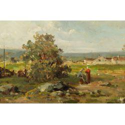 "View 2: Louis Taverne (Belgian, 1859-1934) ""Landscape"" Oil on Board"