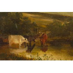 """View 2: Alfred Walter Williams (English, 1824-1905) """"Landscape"""" Oil on canvas"""