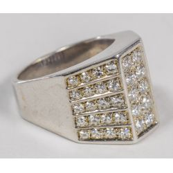 View 2: Rhodium Plated 18k Gold and Diamond Ring