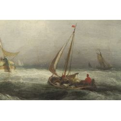 "View 2: John Jock Wilson (English, 1774-1855) ""Ships"" Oil on Canvas"
