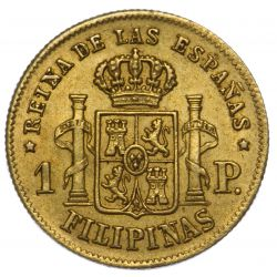View 2: Philippines: 1865 One Peso Gold Coin XF