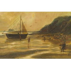 """View 2: Unknown Artist (American, 19th Century) """"Coast Line"""" Oil on Canvas"""