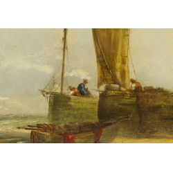 """View 2: George D. Callow (English, 1822-1878) """"Coast Scene"""" Oil on Canvas"""