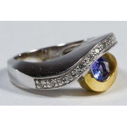 View 2: 18k White and Yellow Gold, Tanzanite and Diamond Ring