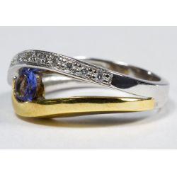 View 3: 18k White and Yellow Gold, Tanzanite and Diamond Ring