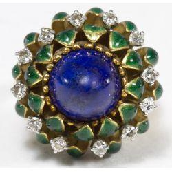 "View 4: La Triomphe 18k Gold, Lapis Lazuli and Diamond ""Lotus"" Ring"