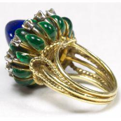 "View 2: La Triomphe 18k Gold, Lapis Lazuli and Diamond ""Lotus"" Ring"