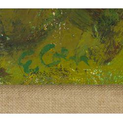 "View 3: Eleanor Coen (American, 1916-2010) ""Yellow Sun Landscape"" Oil on Canvas"