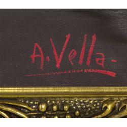 "View 3: A. Vella (20th Century) ""Village"" Oil on Canvas"